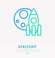 spaceship and moon thin line icon vector image vector image