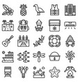 summer vacation related icon set 5 line style