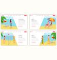summertime holiday resort landing page mockup vector image