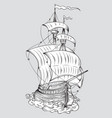 tall ship line art vector image vector image
