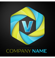 V Letter colorful logo in the hexagonal on black vector image vector image