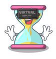 virtual reality modern hourglass on the table vector image vector image