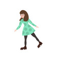 young cute girl skates in beautiful warm clothes vector image vector image