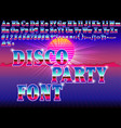 a retro disco party bright font on sunset vector image vector image
