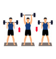 athlete performs an exercise with a barbell vector image