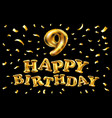 birthday celebration number 9 candle with gold vector image vector image