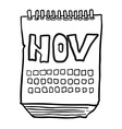 black and white freehand drawn cartoon calendar vector image vector image