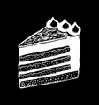 cake piece white chalk on black chalkboard vector image vector image