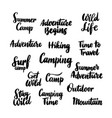camping hand drawn lettering vector image