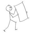 cartoon of happy businessman carrying big empty vector image vector image