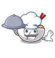 chef with food meatball isolated with in the vector image vector image