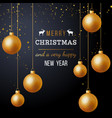 christmas background with golden balls vector image