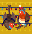 christmas birds card with funny robin couple vector image vector image