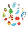 christmas isometric 3d color icons set vector image