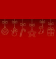 christmas ornaments hanging on red background vector image vector image