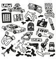 crime - doodles vector image