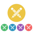 crossed pencils set of colored round icons vector image