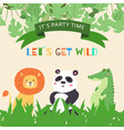 cute animals lion panda and crocodile for kids vector image