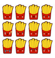 emoji emoticon french fries with a lot of vector image vector image