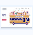 fans army website landing page design vector image vector image