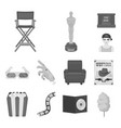 films and cinema monochrome icons in set vector image vector image