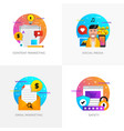 flat designed concepts - content marketing social vector image vector image