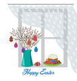 flat vase with spring branches painted eggs and vector image