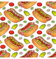 food seamless pattern with hot dog for vector image vector image