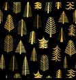 gold foil doodle christmas trees seamless pattern vector image vector image