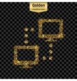 Gold glitter icon of computer isolated on vector image