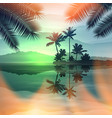 green summer background with sea and palm trees vector image vector image