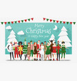 group teens in christmas costume concept vector image vector image