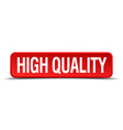 high quality red 3d square button on white vector image vector image
