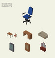 isometric furnishing set of office couch cabinet vector image vector image