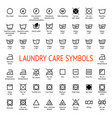 laundry care symbols cleaning icons set washing vector image