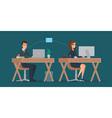 Man and woman at computer monitor Office vector image