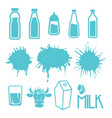 milk set labels and icons vector image