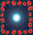moon on the sky and field of poppy flowers vector image vector image