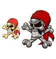 Pirate skull with crossbones vector image