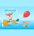 postcard poster cute deer on plane in cartoon vector image vector image
