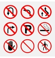 prohibiting signs traffic on the road no smoking vector image vector image