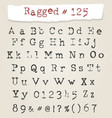 ragged typewriter hand drawn font vector image
