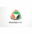 recycling ecological logo design vector image vector image