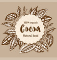 round banner with cocoa beans and plants vector image vector image