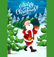 santa carrying christmas tree night winter forest vector image vector image