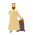 saudi arab man with travel bags cartoon vector image vector image