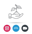 Save nature icon Hand with plant sprout sign vector image vector image