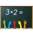 school students raising hands vector image