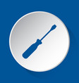 screwdriver - simple blue icon on white button vector image vector image
