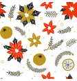 seamless pattern with hand drawn poinsettia vector image vector image